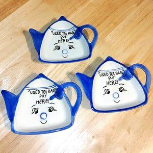 VTG smiling teapot shaped tea bag holders